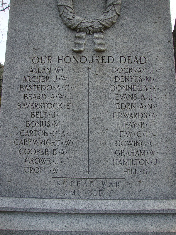 Memorial– The name of John Fulton Smillie appears on the cenotaph in Victoria Park, Milton Ontario Canada. It was added to the bottom of the panel for the Great War of (1914-1921), noted as a death in the Korean War. Some time later, his name was repeated (in error) on the list of men killed in WWII, along with Paterson and Dixon, also errors on the cenotaph.