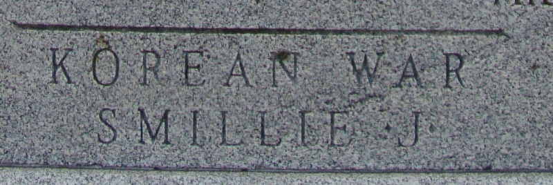 Inscription– The name of John Fulton Smillie appears on the cenotaph in Victoria Park, Milton Ontario Canada. This is an enlargement of his name on the cenotaph.
