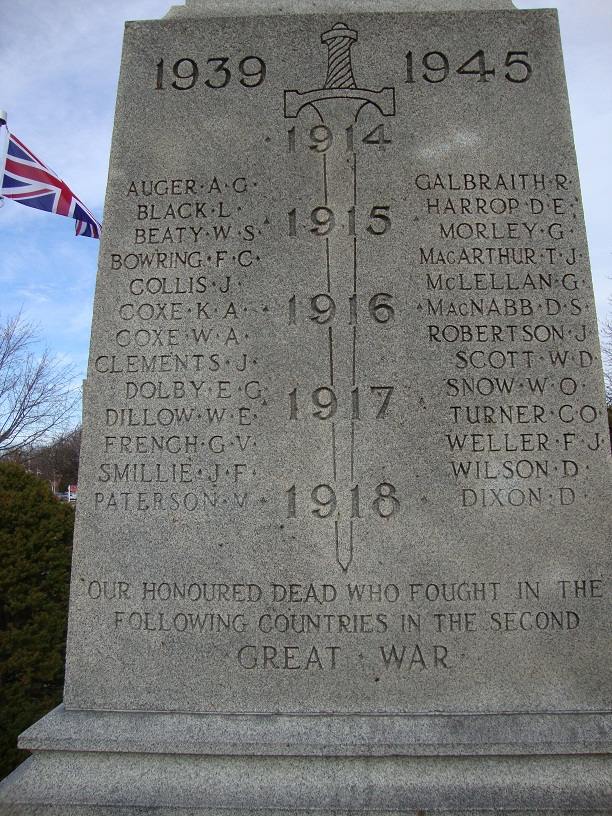 """Memorial– The name of John Fulton Smillie appears twice on the cenotaph in Victoria Park, Milton Ontario Canada. This image shows where his name was also later added """"in error"""" to the section of the cenotaph listing those killed in WWII."""