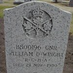 Gravemarker– Headstone of William Wright in Neepawa Riverside Cemetery (Veteran's Plot).  Gunner Wright died in the Canoe River train crash.
