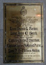 Memorial Plaque– Brass Tablet This tablet is located at the entrance to the Royal Canadian Dragoons Headquarters at CFB Petawawa, ON. Photo courtesy of Thomas L. Skelding