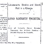 Newspaper Clipping– News article from The Globe, Toronto, dated 19 July 1900 in which a war summary is provided advising of the death of Lieutenant John Edgar Burch.  The article includes a caracature of Lt. Burch.