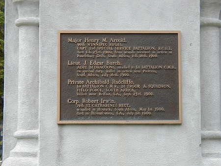 Inscription– Lt John Burch is commemorated on a plaque on the statue at the St. Catharines Municipal Building, St. Catharine's, ON.  Copyright © 2017 by T.L. Skelding. Courtesy of The Mounted Dragoon. Copyrighted Image. Used with Permission.