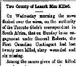 Newspaper Clipping– From the Perth Courier for 23 February 1900.