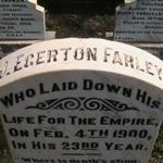 Gravestone– John Egerton Farley's gravestone at Kimberley (West End) Cemetery Garden of Remembrance.