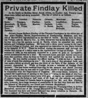 Newspaper clipping– This article about the death of Private J. H. Finlay, Royal Canadian Regiment of Infantry, in heavy fighting on the Modder River near Paardeberg, appeared in the Northern Advance newspaper (Barrie, Ontario), at page 1, on 22 February 1900.