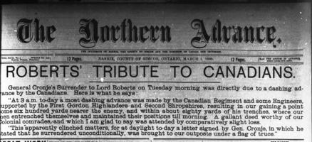 Newspaper clipping– This headline appeared on the front page of the Northern Advance (Barrie, Ontario) on 01 March 1900.  Immediately below it was a lengthy article regarding a sermon by Rev. D.D. McLeod about the war and Private J.H. Findlay.