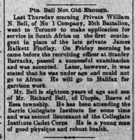Newspaper clipping– This report, about a young man who was inspired to volunteer for military active service in order to replace the late Private J.H. Findlay, appeared on the front page of the Northern Advance newspaper (Barrie, Ontario) on 15 March 1900.