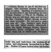 Newspaper Clipping– This report appeared on page 1 of the Northern Advance newspaper (Barrie, Ontario) on 19 July 1900.