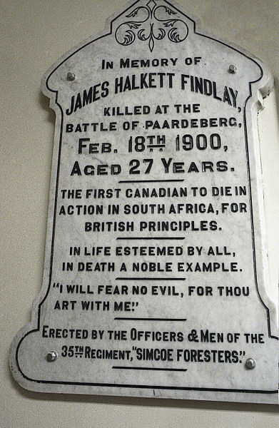 """War Memorial– Memorial Stone for James Halkett Findlay erected by the 35th Regiment """"Simcoe Foresters"""" currently housed in St Andrew's Presbyterian Church, Barrie, ON"""