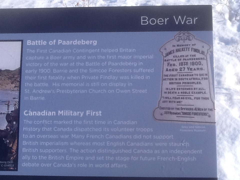 Memorial– Barrie Military Heritage Park, South African Plaque