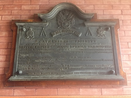 Inscription– Private Higgins is commemorated on a plaque in the Lake St. Armoury, St. Catharines, ON.   Copyright © 2017 by T.L. Skelding. Courtesy The Mounted Dragoon. Copyrighted Image. Used with Permission.