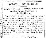 Coupre de presse – Coupure du Toronto Star du 14 septembre 1900. Le sergent quartier-maître Hunt est mort des suites de la fièvre typhoïde dans un hôpital de Johannesburg, en Afrique du Sud.