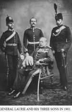 Group Photo– 134 Captain John Halliburton Laurie (RMC 1884) was the son of Lt. Gen. Laurie and Mrs. Laurie, of Halifax, Nova Scotia. He served with the King's Own Rifles of Canada, R.C.I.C, KLR division. He died on Apr 12, 1901 in South Africa.   His brother Lieutenant Colonel George Brenton Laurie (RMC 1883) served with the Royal Irish Rifles and died during the Great War on March 12, 1915. The Project Gutenberg EBook of Letters of Lt.-Col. George Brenton Laurie (commanding 1st Battn Royal Irish Rifles) Dated November 4th, 1914-March 11th, 1915 , by George Brenton Laurie  Editor: Florence Vere-Laurie Release Date: March 17, 2008 [EBook #24862] online at http://www.gutenberg.org/ebooks/24862