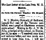 Newspaper Clipping– First part of a letter printed in the Perth Courier for 2 March 1900, page 6.