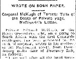 Newspaper Clipping– From the Toronto Daily Star for 6 April 1900, page 2.