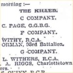 Press Clipping– News article originally published in Ottawa and picked up by The Globe, Toronto, 28 February 1900 advising of the death of Corporal Withey.