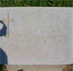 Grave Marker– WJW Patrick's CWGC headstone in Beach Cemetery, Gallipoli, Turkey. Grave/Memorial Reference: I. B. 9.