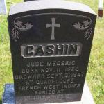 Memorial– Commemorative headstone in St. Joseph's R.C. Cemetery, Port Felix, Guysborough County, NS. Buried in Pointe-à-Pitre, France
