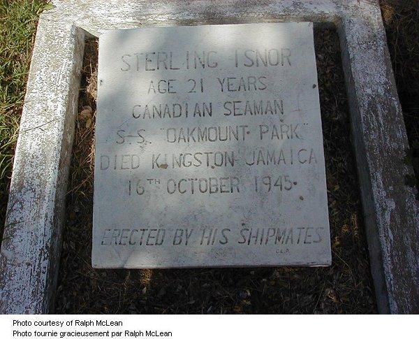 Gravemarker for Sterling Isnor