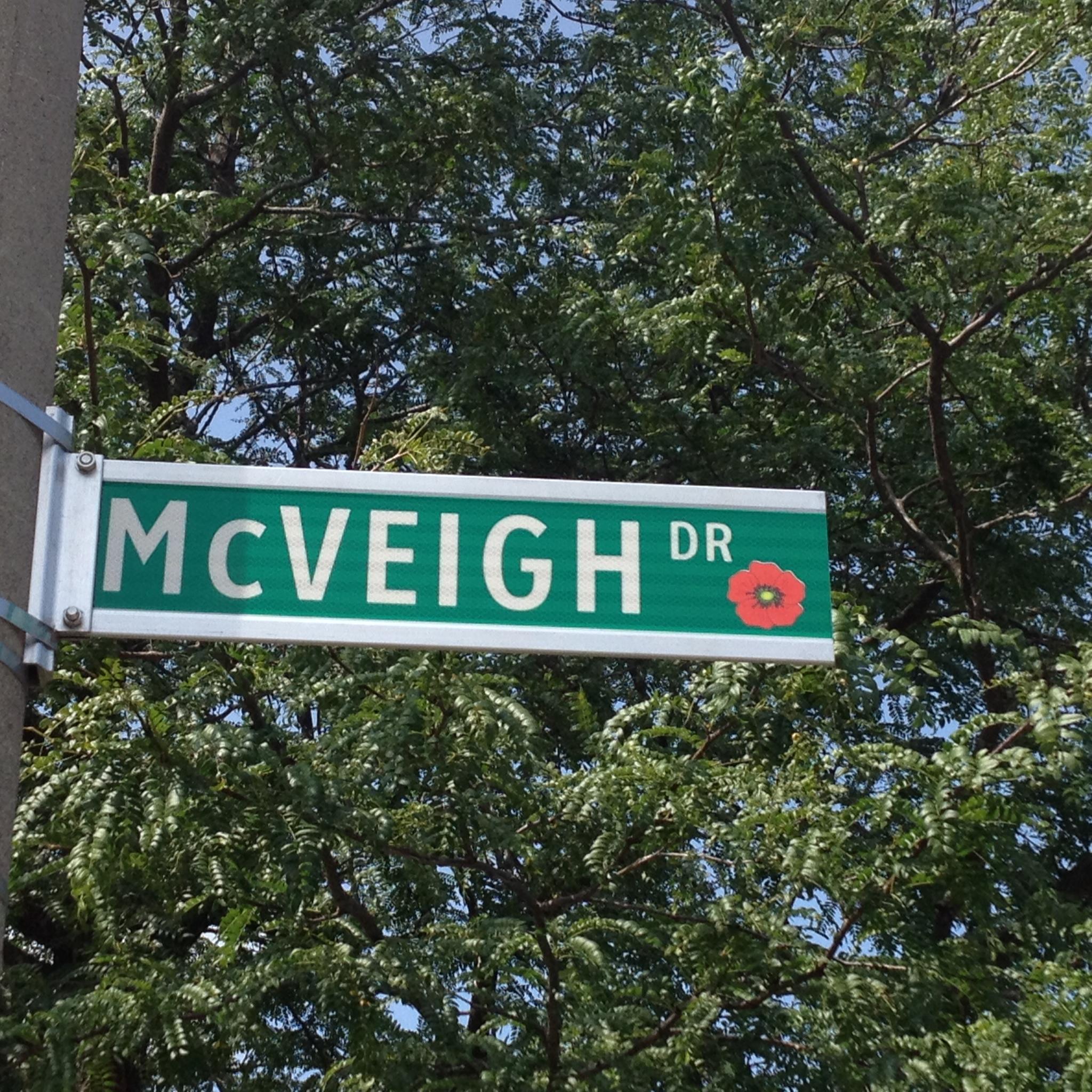 Memorial Street– Barrie street named in honour of Second Radio Officer Daniel Joseph McVeigh with a poppy.