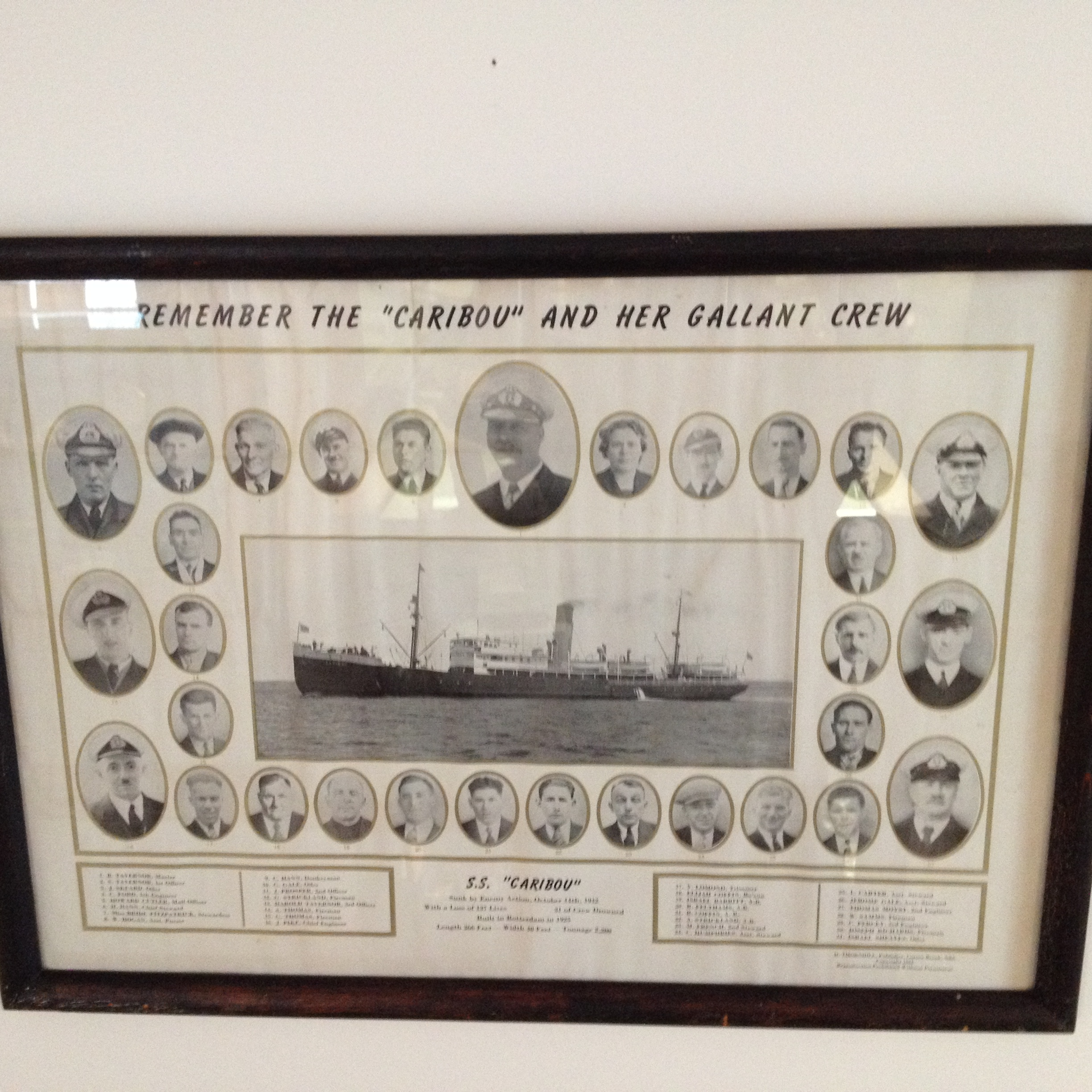 SS Caribou– In memory of the men and women who perished on the SS Caribou October 14th 1942. Submitted on behalf of the Twillingate (Newfoundland) Museum for the project, Operation Picture Me