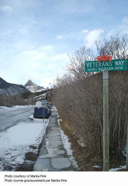 Exshaw street view of Veteran's Way