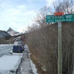 Exshaw street view of Veteran's Way– A view of Veterans' Way, Heart Mountain Drive, in Exshaw, Alberta.