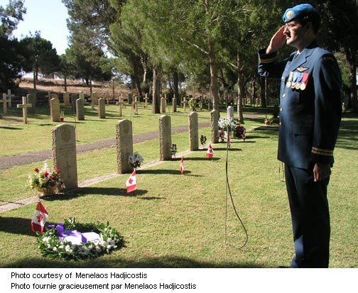 Captain Dan Zegerac salutes graves
