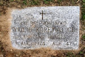 Grave marker– Marker at the grave of Acting Master Warrant Officer Cyril B. Korejwo CD, of The Royal Canadian Regiment, in the Alliston Union Cemetery, 445 Victoria Street East, Alliston, Ontario. A/MWO Korejwo was killed, together with eight other Canadians, when a Canadian Forces Buffalo transport aircraft, in service with the United Nations Emergency Force Middle East, was shot down by Syrian forces on 9 August 1974.