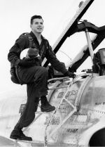 Photo of Keith Mirau– Photo courtesy of Gloria Frazer. He is seen here next to a T-33 while on Course 6302, Summer 1964.