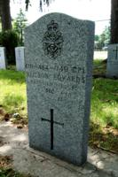 Grave marker– Marker at the grave of Corporal Neilson Edwards in St. Peter's Cemetery, 806 Victoria Street, London, Ontario.  Cpl Edwards died in Egypt on 24 Dec 1974 while serving in 73 Canadian Service Battalion, United Nations Emergency Force Middle East.  (Image taken by Gregory J. Barker of Barrie, Ontario, in 2018.)