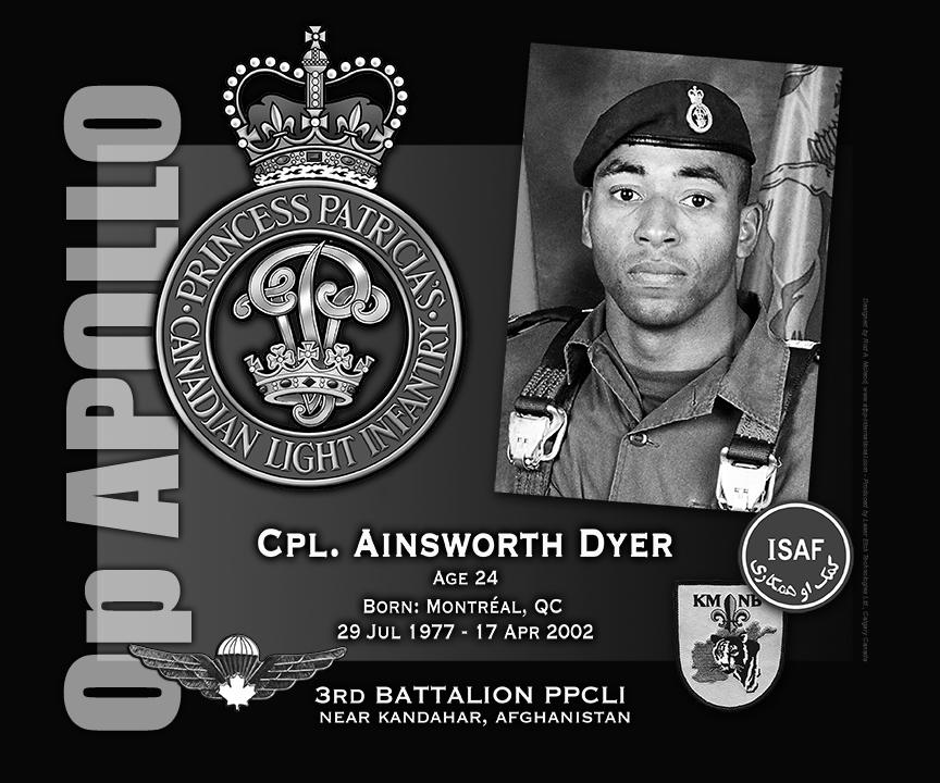 Plaque– This was the laser engraved granite plaque that we re-designed to mark the unfortunate passing of Cpl. Dyer.  The original plaque on the Kandahar Cenotaph contained all four (Léger, Green, Dyer and Smith) but when the monument was repatriated to Canada in 2014, and the new memorial built, it was decided to give each member their own unique plaque.  Today, it can be seen at the Afghanistan Memorial located at National Defence Headquarters in Kanata, On.  