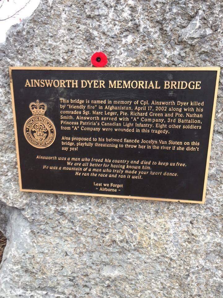 Memorial– Plague at Ainsworth Dyer Bridge in Edmonton