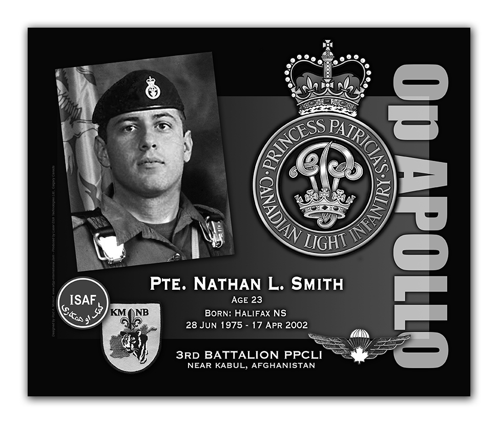 Memorial Plaque– By way of explanation, I am the artist who designed and created the KAF Memorial Plaques. As there does not seem to be a proper photo of Pte Nathan Smith as a jumper and proud member of the PPCLI, I took it upon myself to 'photoshop' an image so there is an available image of Pte Smith - dressed appropriately - as he would have liked.
