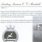 Memorial Page– Ernest Vincent Marshall is honoured on page 42 of the Merrickville Remembers booklet, published in January 2003.