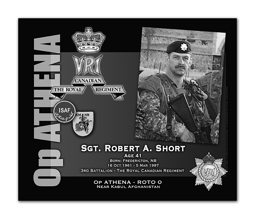 Plaque– This was the laser engraved granite plaque that we re-designed to mark the unfortunate passing of Sgt. Short.    The original plaque on the Kandahar Cenotaph contained both Sgt Short and Cpl Beerenfenger -  but when the monument was repatriated to Canada in 2014, it was decided to give each member their own unique plaque.    Today, it can be seen at the Afghanistan Memorial located at National Defence Headquarters in Kanata, On.    Rod McLeod, Artist