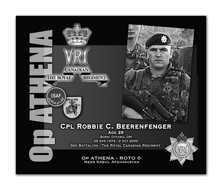 Plaque– This was the laser engraved granite plaque that we re-designed to mark the unfortunate passing of Coprporal Beerenfenger.    The original plaque on the Kandahar Cenotaph contained both Sgt Short and Cpl Beerenfenger -  but when the monument was repatriated to Canada in 2014, it was decided to give each member their own unique plaque.    Today, it can be seen at the Afghanistan Memorial located at National Defence Headquarters in Kanata, On.    Rod McLeod, Artist