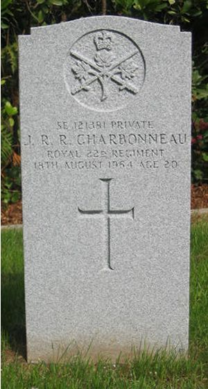 Grave marker– This grave headstone is in Werl Cemetery, in Germany, where Private J. R. R. Charbonneau was laid to rest.  This is the new headstone, set in place in 2003.
