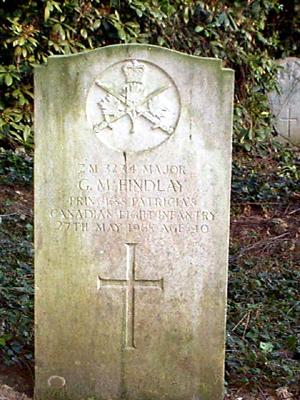 Grave marker– This grave headstone is in Werl Cemetery, in Germany, where Major George McEwan Findlay was laid to rest.  This is the original headstone prior to replacement in 2003.