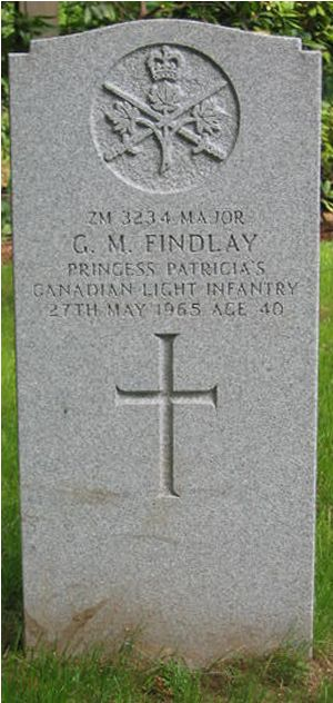 Grave marker– This grave headstone is in Werl Cemetery, in Germany, where Major George McEwan Findlay was laid to rest.  This is the new headstone, set in place in 2003.