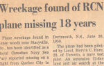 Newspaper clipping– News article about locating the body of Lieutenant Mervin Charles Hare in 1986..