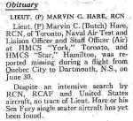 Newspaper Clipping– This obituary appeared at page 32 of the September 1950 issue of the Crowsnest, the Royal Canadian Navy's magazine.  (Submitted by Navy League Cadet Corps CHAMBLY, Barrie, Ontario.)