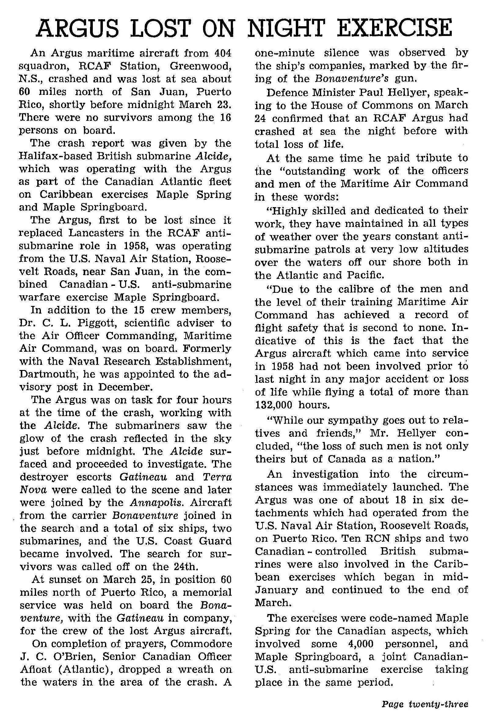 Document– This news report about the loss of Argus aircraft #20727, on May 23, 1965, appeared at page 23 of the March-April 1965 issue of Crowsnest, the Royal Canadian Navy's magazine.  (Submitted by Navy League Cadet Corps CHAMBLY, Barrie, Ontario.)