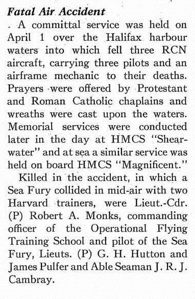 Newspaper clipping– This article appeared, at page 3, in the May 1949 issue of the Crowsnest, the magazine of the Royal Canadian Navy.  (Submitted by Navy League Cadet Corps CHAMBLY, Barrie, Ontario.)