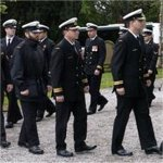 Memorial service - photo 2– Canadian Navy Sailors from Halifax Nova Scotia, enter the Rhu and Shandon Parish Church in Rhu, Scotland to attend a memorial service to honour the life of Lieutenant (Navy) Chris Saunders, a Combat Systems Engineer on board HMCS CHICOUTIMI.