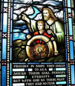 Memorial Stained Glass– Memorial Stained Glass window, Currie Hall, Royal Military College of Canada recalls alumni of Canadian Military Colleges who die while serving at sea.