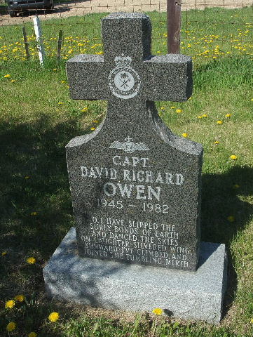 Grave marker– The grave headstone of Captain David Richard OWEN; he was laid to rest in his hometown, in Zion Christian Fellowship Church Cemetery,