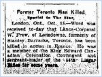 Newspaper Clipping– Clipping from the Toronto Star for 15 October 1915.