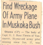 newspaper clipping– Globe and Mail news article after plane in which Captain George John Ross was flying was found.